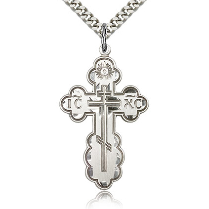 Sterling Silver 1 3/8in Orthodox Cross & 24in Chain