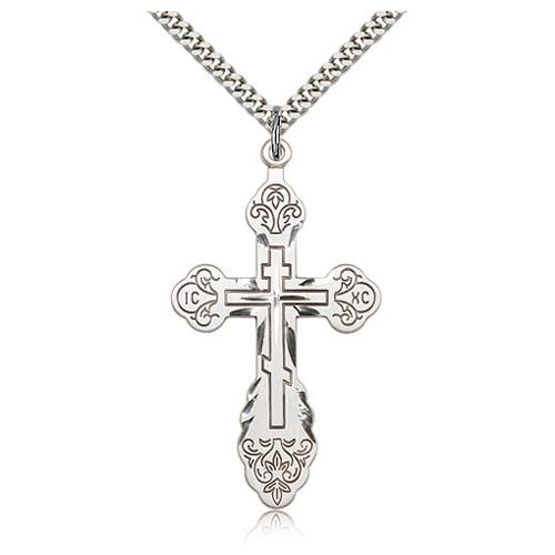 Sterling Silver Jumbo 1 7/8in Orthodox Cross & 24in Chain