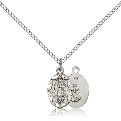 Sterling Silver 1/2in Our Lady of Guadalupe Medal & 18in Chain