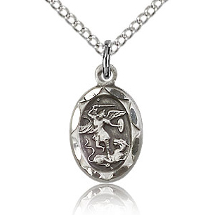 Sterling Silver 1/2in St Michael Charm & 18in Chain