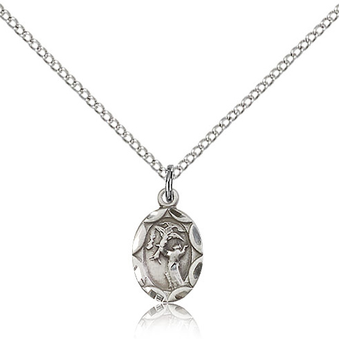 Sterling Silver 1/2in St Francis Charm & 18in Chain