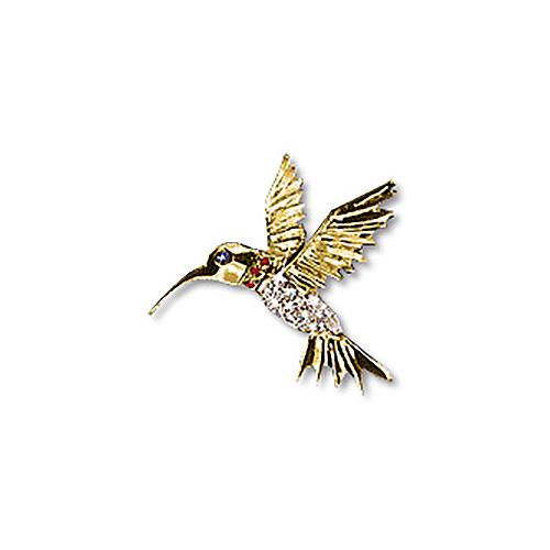 14kt Gold 1 1/4in Hummingbird Pendant with Diamond Pavé