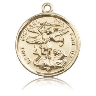 14kt Yellow Gold 1in Round St Michael Medal