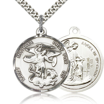 Sterling Silver 1in Reversible St Michael Medal & 24in Chain