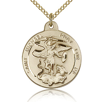 Gold Filled 7/8in St Michael Medal & 18in Chain