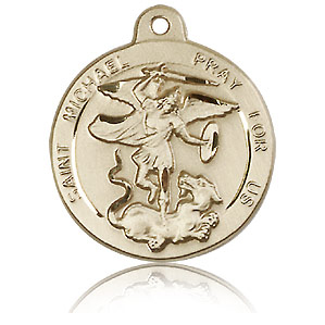 14kt Yellow Gold 7/8in St Michael Medal