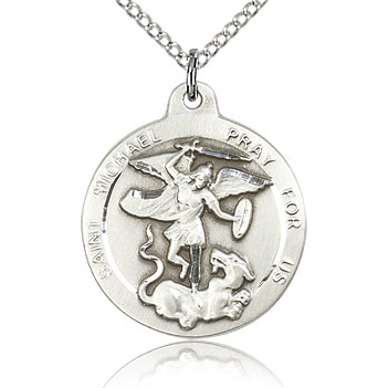 Sterling Silver 7/8in Round St Michael Medal & 18in Chain