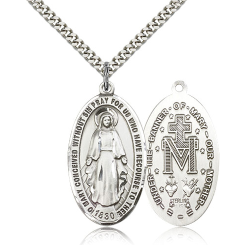 Sterling Silver 1 3/8in Miraculous Medal & 24in Chain