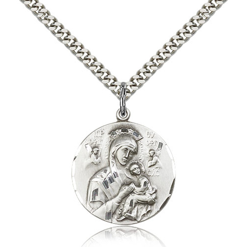 Sterling Silver 7/8in Lady of Perpetual Help Medal & 24in Chain