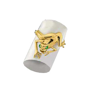 14kt Yellow Gold Frog Ring with Emerald Eyes