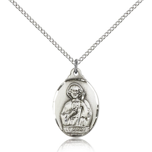 Sterling Silver 7/8in St Jude Medal & 18in Chain