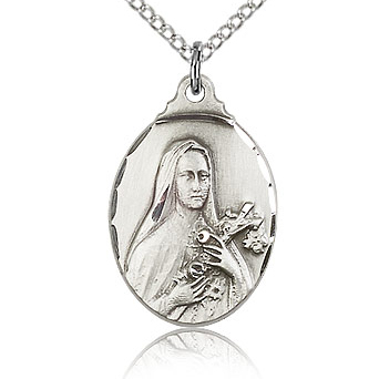 Sterling Silver 7/8in St Theresa Medal & 18in Chain