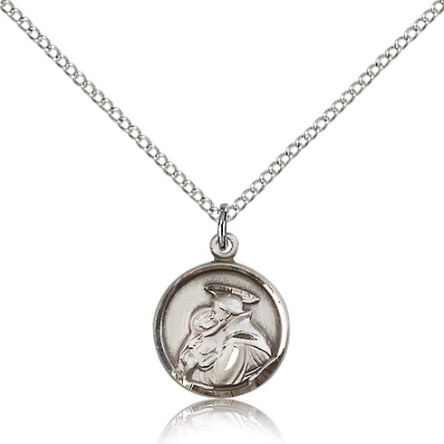 Sterling Silver 5/8in St Anthony Charm & 18in Chain