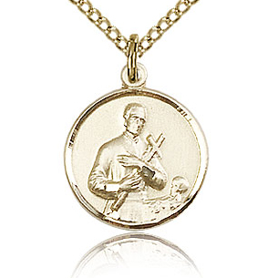 Gold Filled 5/8in St Gerard Medal & 18in Chain
