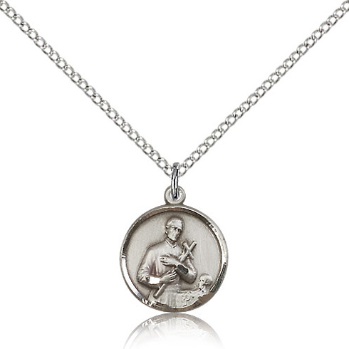 Sterling Silver 5/8in Gerard Medal Charm & 18in Chain