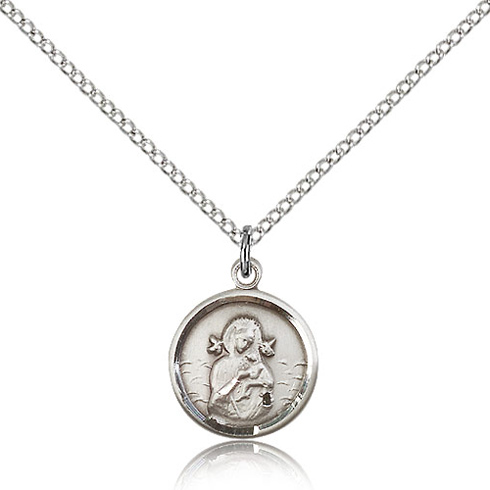 Sterling Silver 5/8in Lady of Perpetual Help Medal Charm & 18in Chain