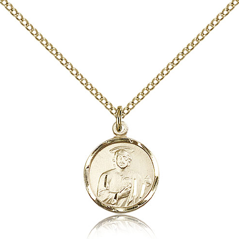 Gold Filled 5/8in Round St Jude Medal & 18in Chain