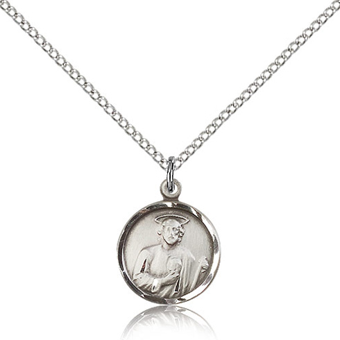 Sterling Silver 5/8in Jude Medal Charm & 18in Chain