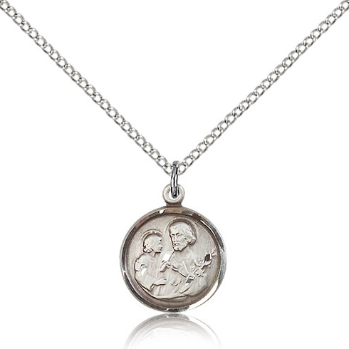Sterling Silver 5/8in St Joseph Charm & 18in Chain