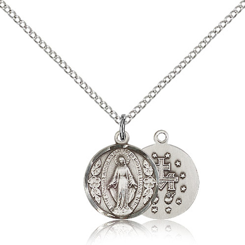 Sterling Silver 1/2in Round Miraculous Medal & 18in Chain