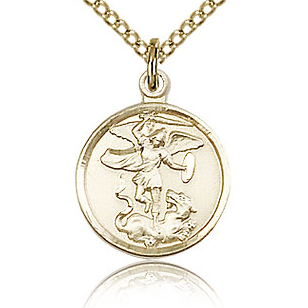 Gold Filled 5/8in St Michael Medal & 18in Chain