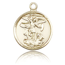 14kt Yellow Gold 5/8in St Michael Medal