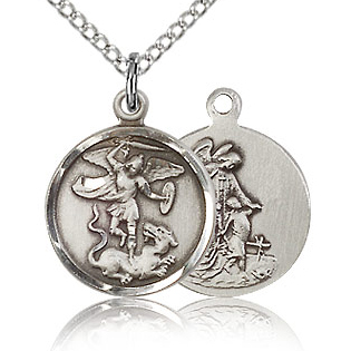 Sterling Silver 5/8in St Michael Charm & 18in Chain