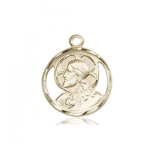 Round Scapular Medal Charm 5/8in 14k Yellow Gold