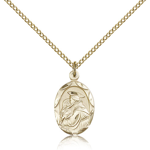 Gold Filled 3/4in St Anthony Medal & 18in Chain