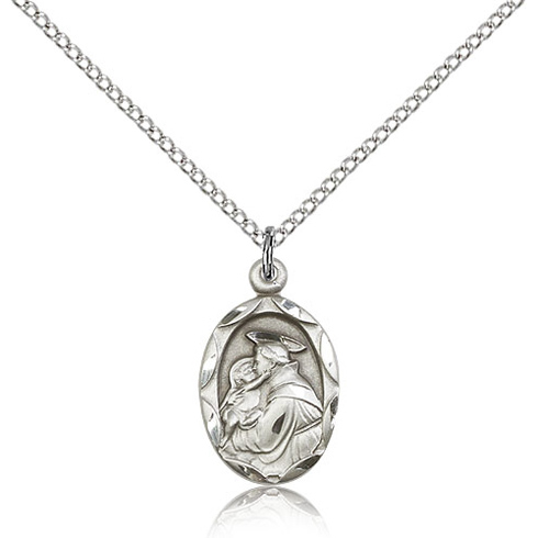 Sterling Silver 3/4in Anthony Medal Charm & 18in Chain
