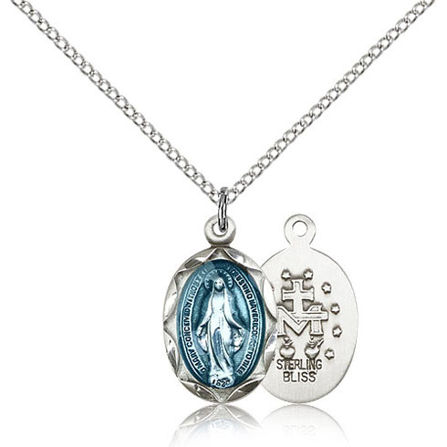 Sterling Silver 3/4in Blue Miraculous Medal & 18in Chain