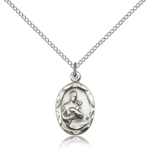 Sterling Silver 3/4in Gerard Medal Charm & 18in Chain