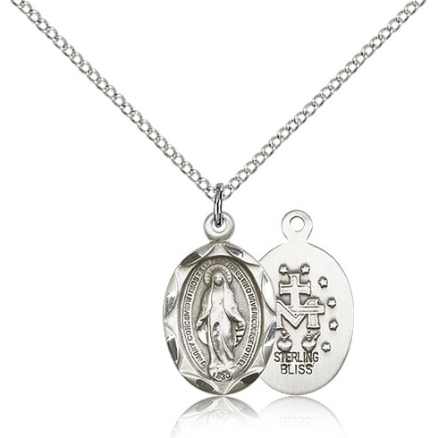 Sterling Silver 3/4in Faceted Miraculous Medal & 18in Chain