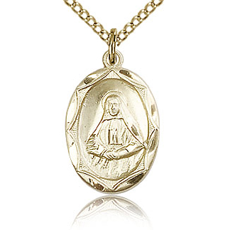 Gold Filled 5/8in St Frances Cabrini Medal & 18in Chain