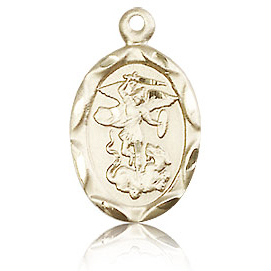 14kt Yellow Gold 3/4in Oval St Michael Medal