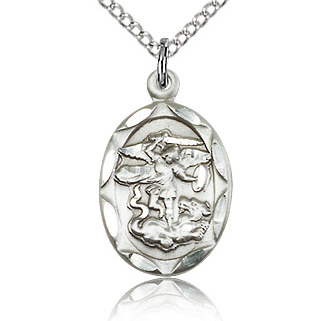 Sterling Silver 3/4in St Michael Medal Charm & 18in Chain