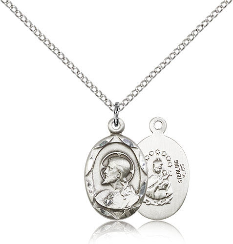 Sterling Silver 3/4in Oval Scapular Medal & 18in Chain
