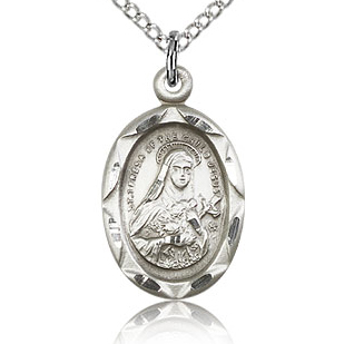 Sterling Silver 3/4in Theresa Medal Charm & 18in Chain