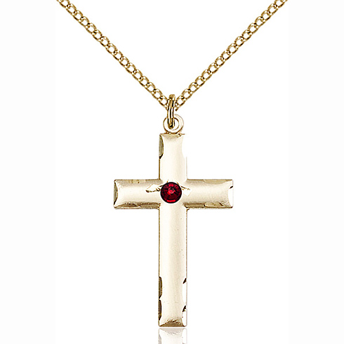 Gold Filled 1 1/8in Cross Pendant with 3mm Garnet Bead & 18in Chain