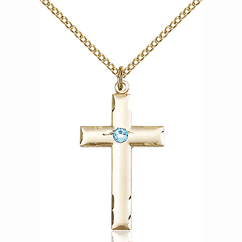 Gold Filled 1 1/8in Cross Pendant with 3mm Aqua Bead & 18in Chain