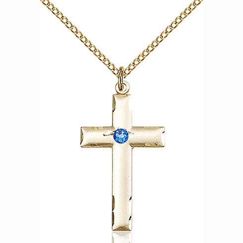 Gold Filled 1 1/8in Cross Pendant with 3mm Sapphire Bead & 18in Chain