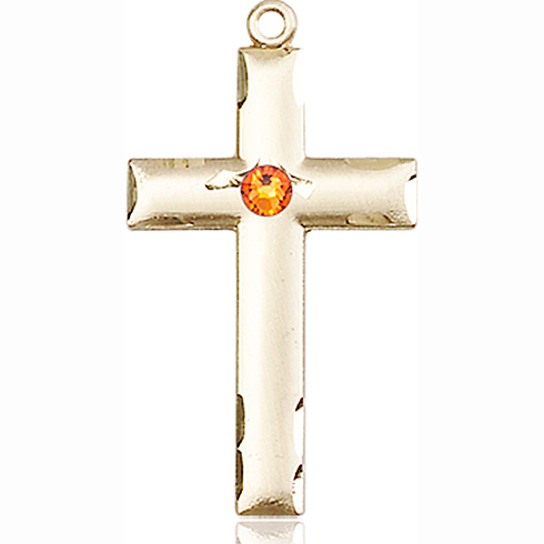 14kt Yellow Gold 1 1/8in Cross with 3mm Topaz Bead