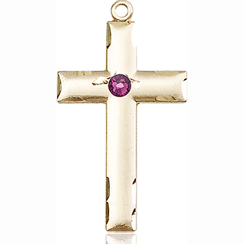 14kt Yellow Gold 1 1/8in Cross Medal with 3mm Amethyst Bead