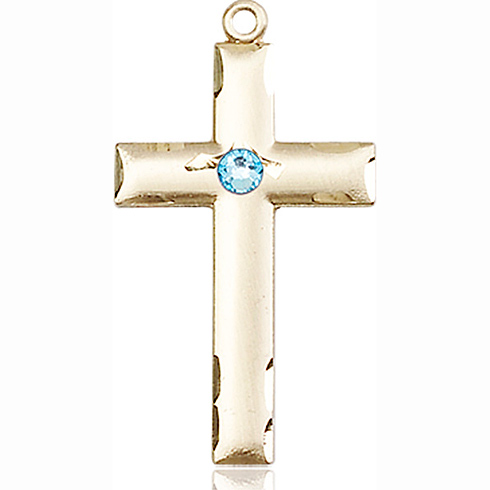14kt Yellow Gold 1 1/8in Cross Medal with 3mm Aqua Bead
