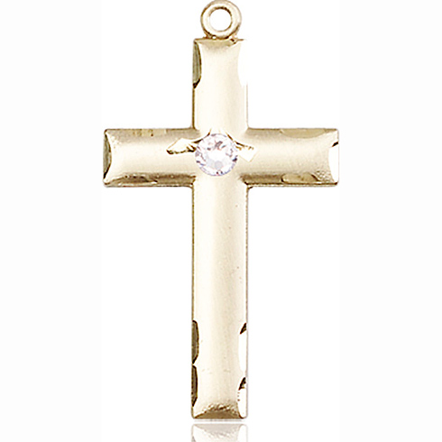 14kt Yellow Gold 1 1/8in Cross Medal with 3mm Crystal Bead