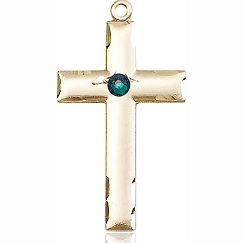 14kt Yellow Gold 1 1/8in Cross Medal with 3mm Emerald Bead
