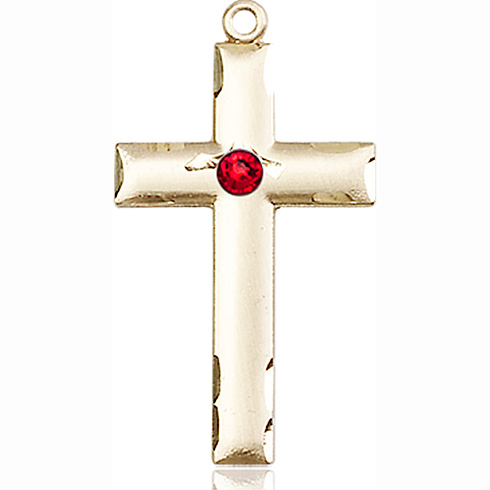 14kt Yellow Gold 1 1/8in Cross Medal with 3mm Ruby Bead