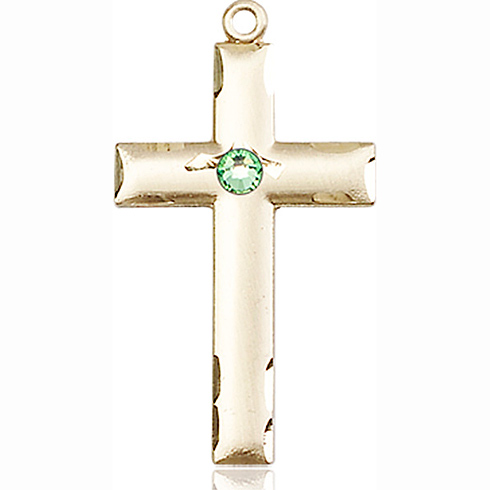 14kt Yellow Gold 1 1/8in Cross Medal with 3mm Peridot Bead