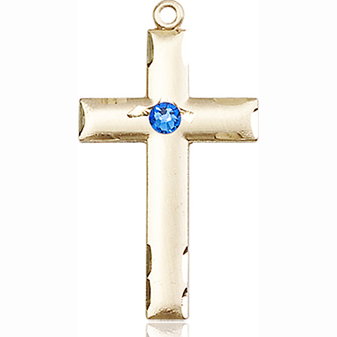 14kt Yellow Gold 1 1/8in Cross Medal with 3mm Sapphire Bead