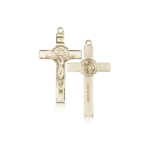 14kt Yellow Gold 1 1/8in St Benedict Crucifix